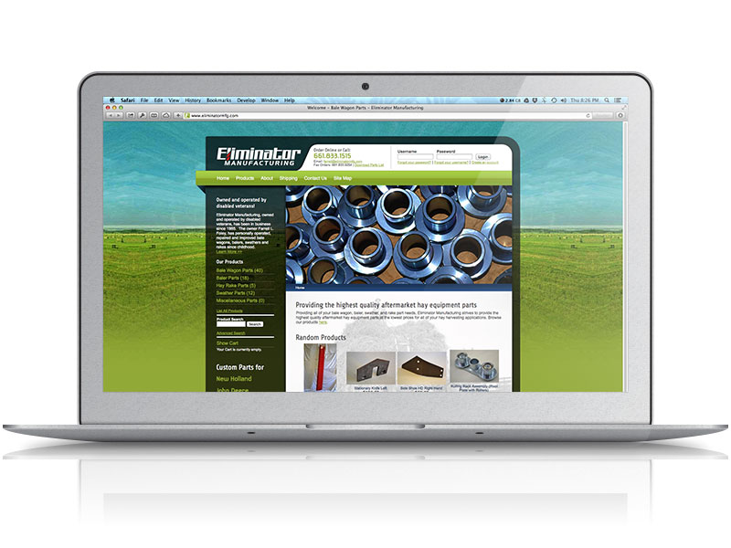Eliminator Manufacturing Web Design