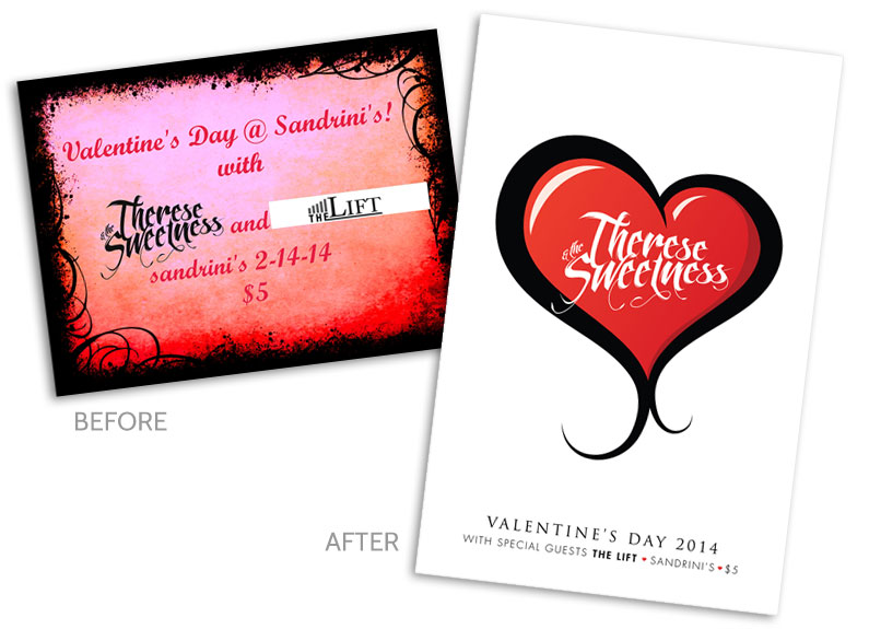 Valetine's Day Poster Design Before and After